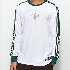 Adidas Logo Club White Green Stripe Long Sleeve